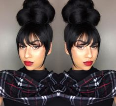 When in doubt, bun it out says @beautifiya - http://community.blackhairinformation.com/hairstyle-gallery/updos/doubt-bun-says-beautifiya/ Bun Hairstyles Black Hair, Black Hair Ponytail, Black Hair Bun Styles, Black Wedding Hairstyles, Updos For Black Hair, Hairstyles Haircuts, Holiday Hairstyles, Black Women Hairstyles, Haircuts For Men