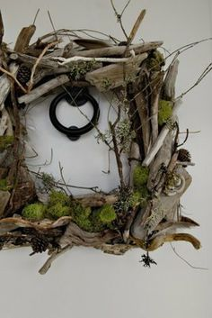 square wreath with driftwood and moss