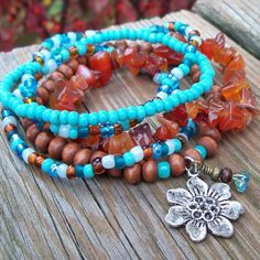Carnelian and Turquoise - Beaded Stretch Bracelet Stackers - Love and Joy by Angelof2, $26.00