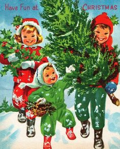 Vintage Christmas card.                            ~ I remember sending & receiving cards that looked like this.
