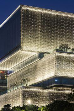 Mitsubishi Jisho Sekkei completes landmark tower and human-scale podium in Taipei Taipei Nanshan Plaza, Taipei, Taiwan, by Mitsubishi Jisho Sekkei Box Architecture, Futuristic Architecture, Contemporary Architecture, Facade Lighting, Exterior Lighting, Outdoor Lighting, Architectural Lighting Design, Tower Design, Facade Design