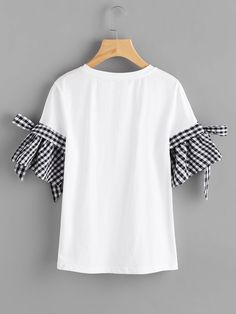 Bow Detail Gingham Bell Cuff T-shirt EmmaCloth-Women Fast Fashion Online Colorful Fashion, Diy Fashion, Trendy Fashion, Fashion Online, Fashion Dresses, Fashion Design, Traje Casual, Shirt Refashion, Clothes Crafts