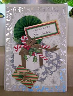 Handmade Christmas Card Anna Griffin Design and Supplies Vintage Look Rosette Packages Candy Canes Ribbons