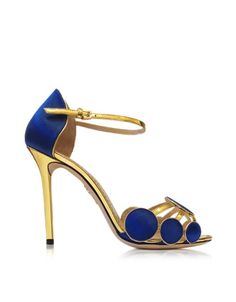 Charlotte Olympia Cobalt Blue Satin Silk and Leather Contemporary Sandals | Shoes and Footwear