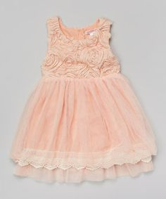 Another great find on #zulily! Pink Rosette Overlay Dress - Toddler & Girls by Paulinie #zulilyfinds