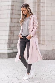 spring outfit, fall outfit, casual outfit, comfy outfit, sneakers outfit, athleisure, street style, travel outfit, airport outfit - blush trench coat, light pink trench coat, grey t-shirt, dark grey skinny jeans, white sneakers