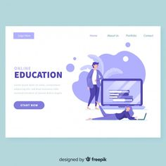 Online education landing page template Free Vector Design Websites, Web Design Company, App Design, Flat Design, Page Template, Templates, Vector Character, Mise En Page Web, Web Design Tutorial