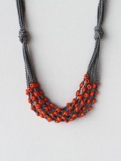Dark grey orange necklace Crochet beaded necklace Gift for her under 25 Rustic jewelry Multi strand cotton necklace with glass beads ohtteam Crochet Beaded Necklace, Bead Crochet, Diy Necklace, Beaded Jewelry, Handmade Jewelry, Crochet Jewellery, Necklaces, Crochet Necklace Pattern, Heart Jewelry