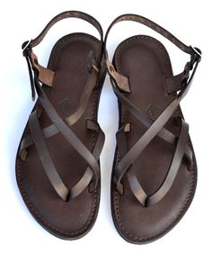 Brown leather women sandals sandals flat sandals by LabooLeather