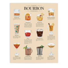 """12 Classic Bourbon Cocktails: What better way to celebrate Bourbon Heritage Month than with a dozen classic bourbon cocktails. We start out with two bourbon """"Whiskey is liquid sunshine."""" -George Bernard Shaw I was happy to create this piece for Kentuc Bourbon Sour, Bourbon Drinks, Bar Drinks, Cocktail Drinks, Yummy Drinks, Alcoholic Drinks, Whiskey Sour, Beverages, Champagne Cocktail"""