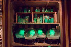 Specimens in bottles - love the green. RogersGardens_Halloween2015_IMG_0250