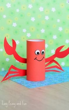 Toilet Paper Roll Crafts - Get creative! These toilet paper roll crafts are a great way to reuse these often forgotten paper products. You can use toilet paper Crab Crafts, Summer Crafts For Kids, Fun Crafts For Kids, Toddler Crafts, Diy For Kids, Easy Crafts, Arts And Crafts, Craft Kids, Decor Crafts