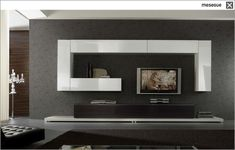 contemporary lacquered TV wall unit CLEVER TWO 57 muebles MESEGUE