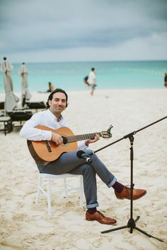 Please your guests with soft acoustic tunes at your beach weding. Grand Hyatt, Amazing Weddings, White Sand Beach, Hotels And Resorts, Acoustic, Night Life, Playa Del Carmen