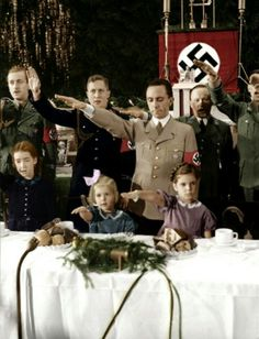 Joseph Goebbels with his daughters Hilde & Helga on Christmas 1937