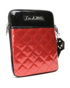 Atomic Ipad Case Black Red Sparkle