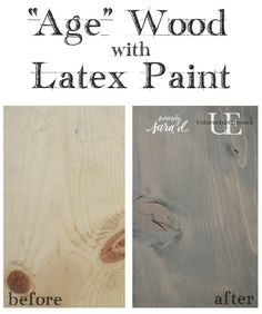 Do you love the look of weathered wood? Check out this tutorial for how to achieve a weathered look using latex paint! It's super easy and inexpensive. Gray Wash Furniture, Paint Furniture, Redoing Furniture, House Furniture, Furniture Ideas, Furniture Design, Dry Brush Painting, Diy Painting, Paint Stain