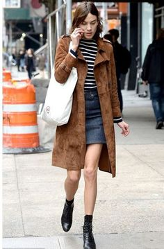 stripes striped top suede jacket coat alexa chung ankle boots purse spring outfits