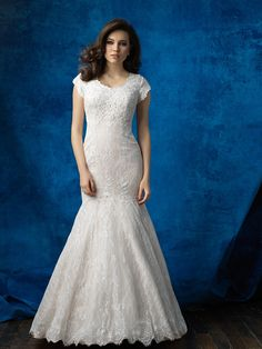 Allure Modest M565 Cap Sleeve Lace Mermaid Wedding Dress – Off White