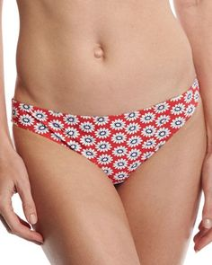 Tory Burch Primrose Hipster Bikini Bottom, Red Pattern