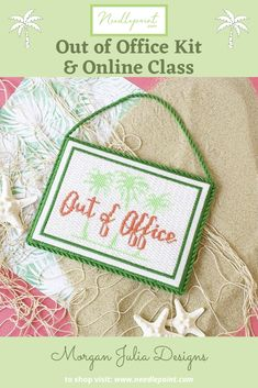 Stitch your way into summer with our Out of Office kit and online class. This darling kit features a fun design by Morgan Julia! #newneedlepoint #needlepointclass #needlepointkit #morganjuliadesigns #needlepointdotcom #summerneedlepoint