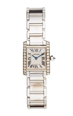 Vintage Cartier 18K White Gold And Diamond Tank Francaise Watch From Portero by Portero for Preorder on Moda Operandi