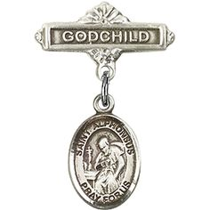 Sterling Silver Baby Badge with St. Alphonsus Charm and Godchild Badge Pin 1 X 5/8 inches >>> For more information, visit image link. (This is an Amazon Affiliate link and I receive a commission for the sales)