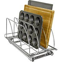 Lynk Professional Roll Out Cutting Board, Bakeware, and Tray Organizer - Pull Out Kitchen Cabinet Rack -  Chrome