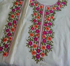 Beautiful and trendy Hand Embroidery Neck Designs Embroidery Suits Punjabi, Embroidery On Kurtis, Hand Embroidery Dress, Kurti Embroidery Design, Embroidery Neck Designs, Embroidery Works, Embroidered Clothes, Hand Embroidery Stitches, Embroidery Fashion