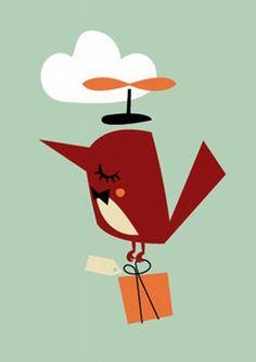#Card #Bird by Darling Clementine vogel wenskaart enkel from www.kidsdinge.com    http://instagram.com/kidsdinge   https://www.facebook.com/kidsdingecom-Origineel-speelgoed-hebbedingen-voor-hippe-kids-160122710686387/  #toys #Speelgoed #Kidsroom #Kidsdinge