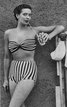 Patterns: Horizontal and vertical stripes.Two piece suits had sturdy patterned fabric bras with secure wide straps which were set atop shorts with modesty skirts were popular.  They were especially favoured by women who wanted to hide their lumpy thighs or hide varicose veins.  These were usually made in satin cotton and printed with exotic vivid prints.