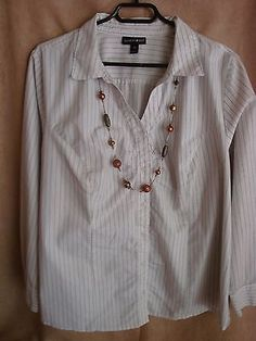 Womens woven blouse top 2X plus Fashion Bug career EUC white black long sleeved | eBay