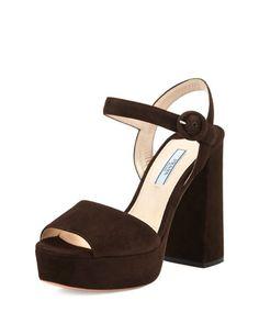 X3AE3 Prada Suede Platform Ankle-Strap Sandal, Moro