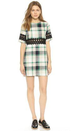 ENGLISH FACTORY Plaid Short Sleeve Dress