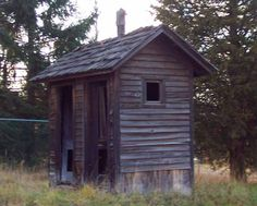 """Public """"Convenience"""" The original double outhouse. Very uncomfortable going w/ someone else."""