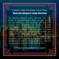 Detroit Airport, Toronto Airport, Buffalo Airport, Airport Limo Service, Airport Transportation, Detroit Area, Windsor, Tours