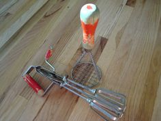 Vintage Hand Mixer and  Potato Masher Red by VintageShoppingSpree, $15.00