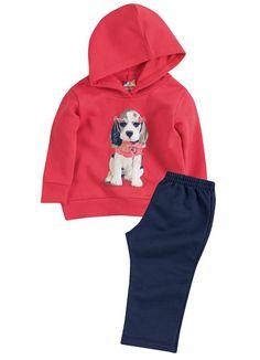 Conjunto de Moletom Baby com capuz, quentinho e confortável para sua princesa!!