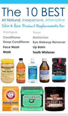 The 10 Best All Natural, Inexpensive, Skin & Hair Product Replacements for shampoo, conditioner, deep conditioner, face wash, mask, toner, moisturizer, eye makeup remover, lip balm, and teeth whitener