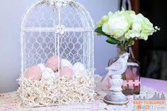 Gather up decor from around the house that fits your spring and Eater theme Easter Dinner Ideas: 5 Tips For a Great Holiday #HoneyBakedEaster ad