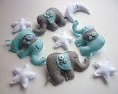 Baby Boy Elephant Mobile - Felt and Applique Nursery Mobile - Crib or Cot Mobile. $79.00, via Etsy.