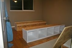 diy bed frame with storage, organization, or bookcase.