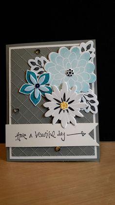 Stampin up  Flower patch stamp set and framelits. Darice folder for background.