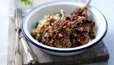 Dukkah Lamb Cutlets  (Dukkah is a seasoning mix & there is a recipe for quinoa salad.)