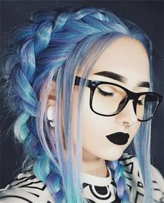 Blue Wigs Lace Frontal Hair Blesoy Curly Hair Wig Natural Hair Salon N – xxshoop Frontal Hairstyles, Wig Hairstyles, Curly Hair Styles, Natural Hair Styles, Natural Hair Salons, Alternative Hair, Coloured Hair, Synthetic Lace Front Wigs, Mermaid Hair