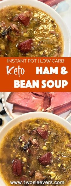 No need to miss beans on a Keto Low carb diet! These use a secret, low carb bean that tastes fabulous! Low carb ham and bean soup tastes like the real thing. Make it in your Instant pot or Pressure Cooker in under an hour.  via @twosleevers