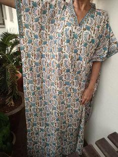 sleepwear,maxi dress,boho dress,one size kaftan,, Handmade kaftan,block print kaftan,resort wear,Cotton Caftan loungewear