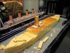 Making a Titanic birthday cake.