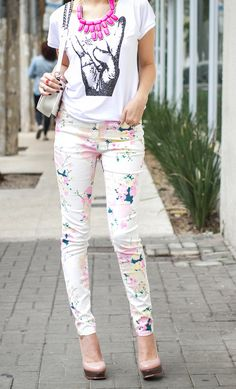 splatter paint skinny jeans. I definitely need to lose my thighs for these