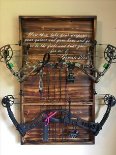 Bars for home, Hunting room, Hunting decor, Woman cave, Hunting. Bow Rack, Bow Hanger, Man Cave Diy, Man Cave Home Bar, Man Cave Guns, Hunting Home Decor, Diy Home Decor, Hunting Rooms, Hunting Stuff